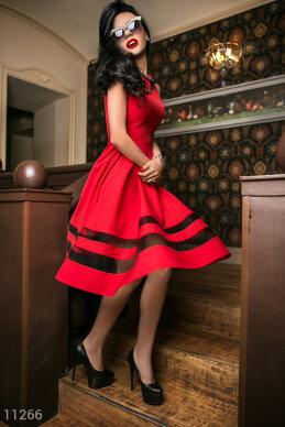 Платье габардин красное