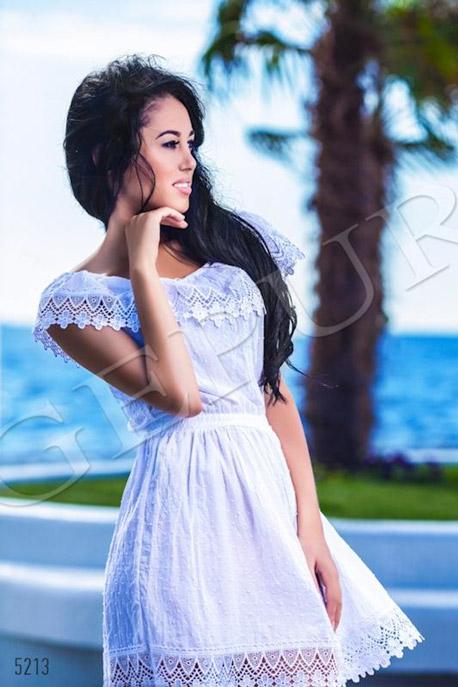 Купить Платья / Сарафаны, Платье на резиночке из фактурной ткани, Платье - 5213, GEPUR, белый, гипюр белый