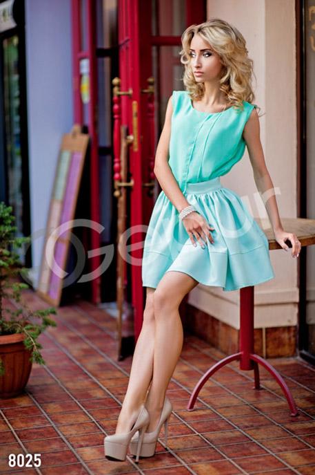 Купить Блузы, рубашки, Легкая шифоновая блузка, Блузка-8025, GEPUR, бирюзовый