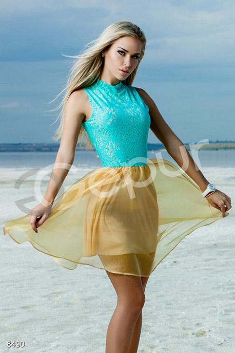 Купить Платья / Мини, Платье Софи , Платье-8490, GEPUR, бирюзовый, золото