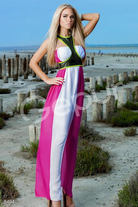Купить Платья / Макси, Платье в пол, Платье-8494, GEPUR, малиновый, белый, топ - зеленый с черным