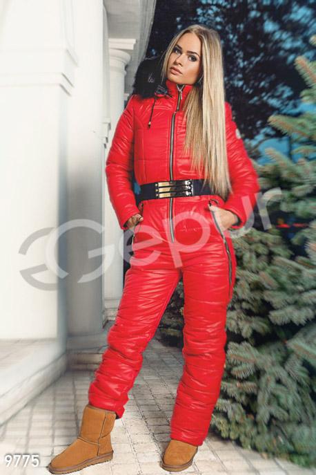 Купить Верхняя одежда / Дутые костюмы и комбинезоны, Красный дутый комбинезон обшитый мехом, Комбинезон-9775, GEPUR, красный