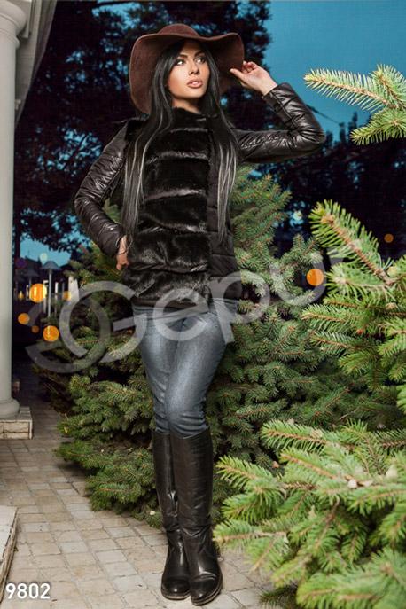 Купить Верхняя одежда / На синтепоне, Куртка дутая стеганая с меховыми вставками, Куртка-9802, GEPUR, черный