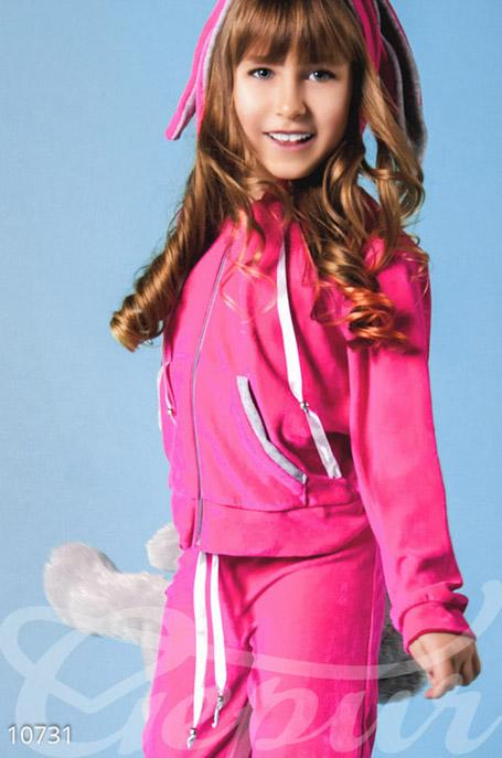 Купить Детская одежда, Розовый велюровый костюм для подростка, Костюм(подросток)-10731, GEPUR, розовый, вставки-серые