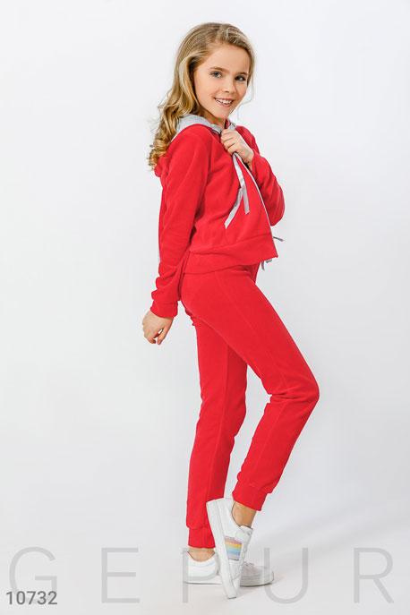 Купить Детская одежда, Малиновый велюровый костюм для подростка, Костюм(подросток)-10732, GEPUR, малиновый, вставки-серые