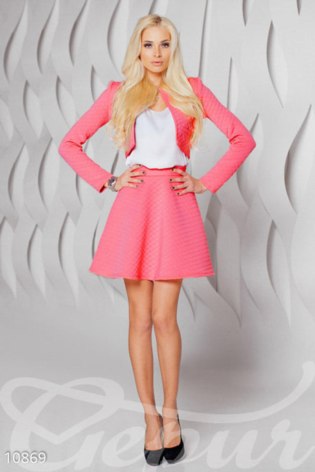 Купить Костюмы и комплекты / Низ юбка, Женственный и кокетливый костюм-двойка, Костюм-10869, GEPUR, барби неон