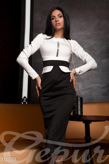 Купить Платья / Макси, Сдержанное платье-миди, Платье (Батал)-10939, GEPUR, белый юбка и пояс - черный цепочки - золото стразы - прозрачные