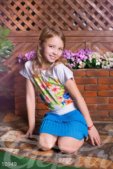 Купить Детская одежда, Детская голубая юбка, Юбка-10949, GEPUR, голубой, пояс белый