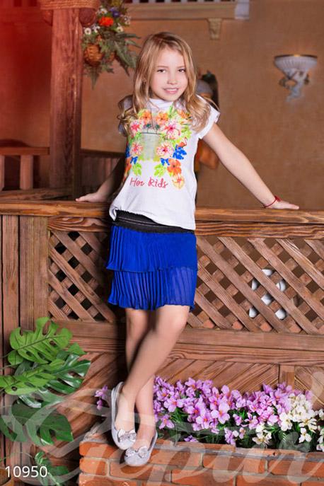 Купить Детская одежда, Детская синяя юбка, Юбка-10950, GEPUR, темно-синий, пояс-черный