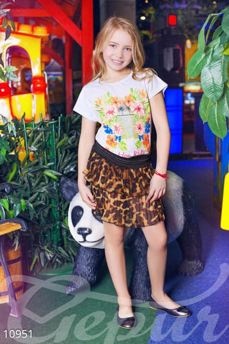 Купить Детская одежда, Юбка для девочки коричневый леопард, Юбка-10951, GEPUR, коричневый, пояс -черный