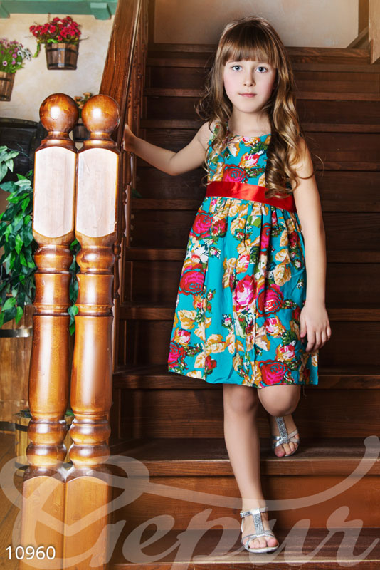 Бирюзовое детское платье