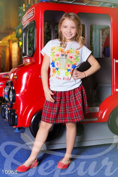 Купить Детская одежда, Шерстяная юбка клетчатая для девочки, Юбка-10968, GEPUR, красная шотландская клетка