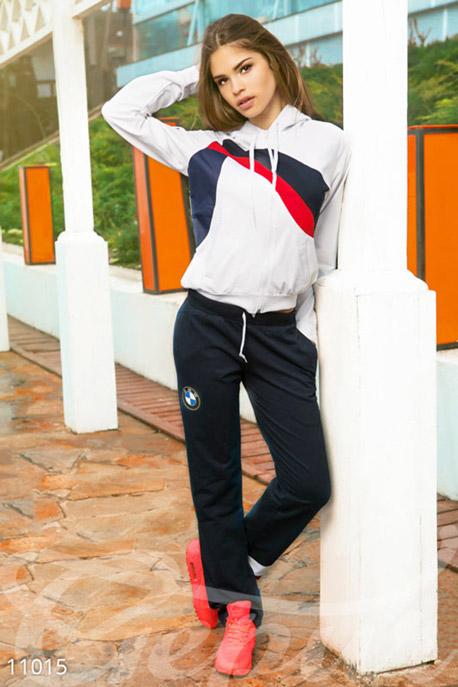 Купить Спортивные костюмы / Со штанами, Спортивный костюм двуцветный синие-белый, Костюм-11015, GEPUR, белый/темно-синий/красный брюки - темно-синий