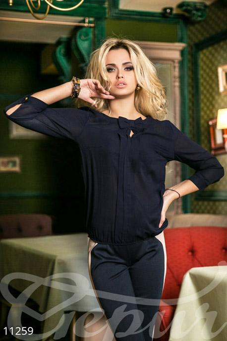 Блузы, рубашки, Темно-синяя блуза с рукавом-фонариком, Блуза-11259, GEPUR, темно-синий  - купить со скидкой