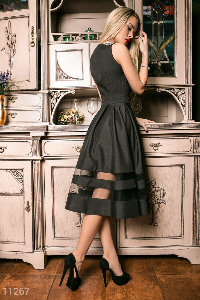 Платье габардин черное