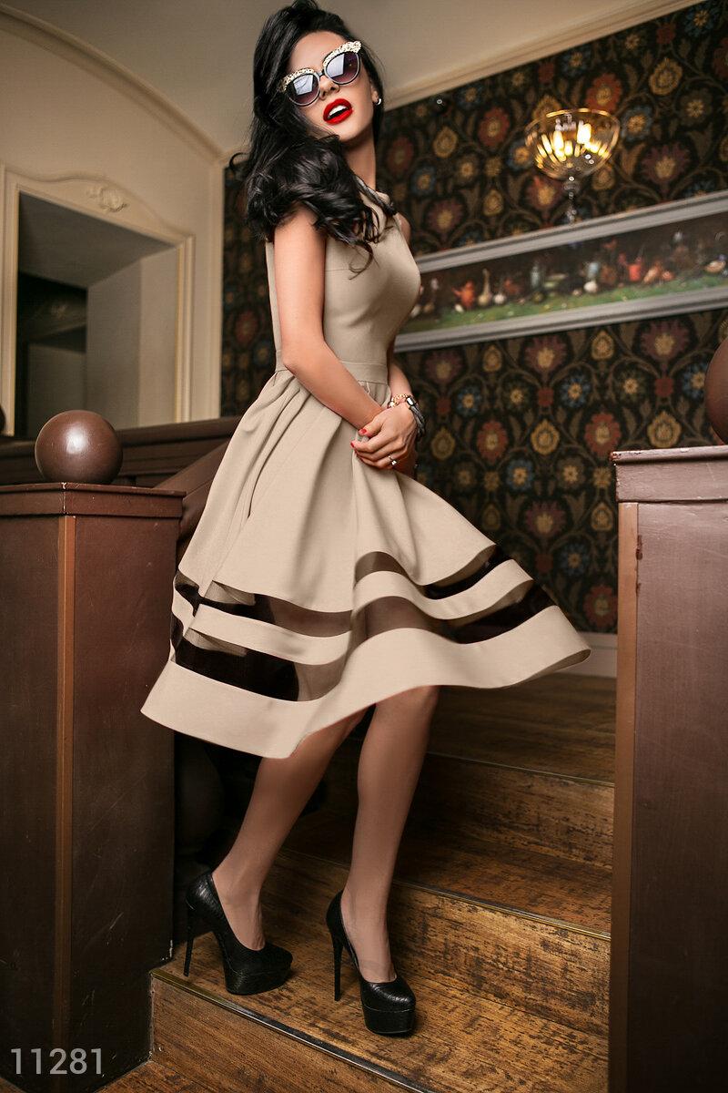 Платье габардин бежевое