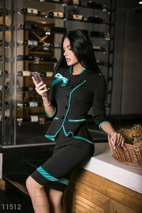 Купить Костюмы и комплекты / Низ юбка, Черный деловой костюм с бирюзой, Костюм-11512, GEPUR, черный, отделка - бирюза