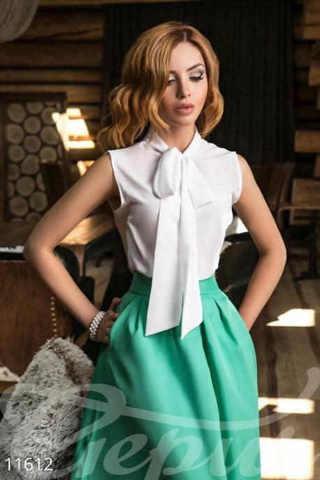 Купить Блузы, рубашки, Элегантная блуза с завязками, Блуза-11612, GEPUR, белый