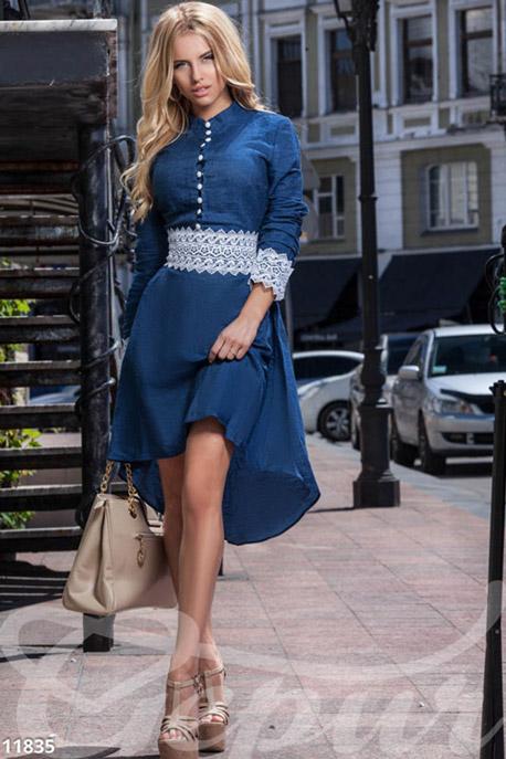 Джинсовое платье с кружевом GEPUR