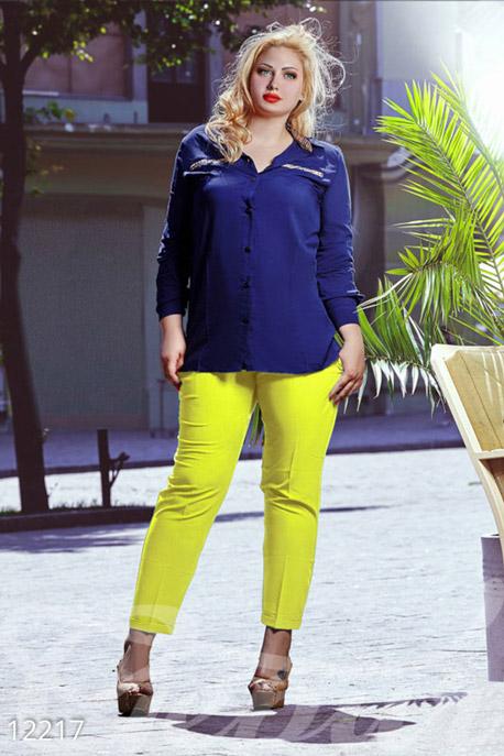 Купить Брюки, леггинсы, шорты / Большие размеры, Классические узкие брюки большого размера, Брюки(Батал)-12217, GEPUR, желтый
