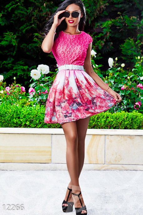 Купить Платья / Мини, Платье цвета фукция из разноцветного гипюра, Платье-12266, GEPUR, фуксия, белый