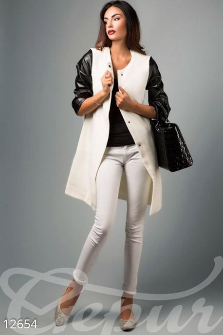 Легкое кашемировое пальто с кожаными рукавами купить в интернет-магазине в Москве, цена 1254.89 |Пальто-12654