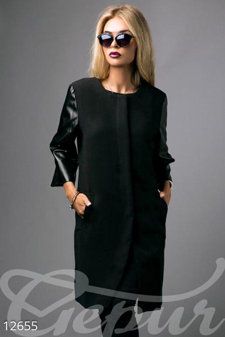 Легкое кашемировое пальто с кожаными рукавами купить в интернет-магазине в Москве, цена 1254.89 |Пальто-12655