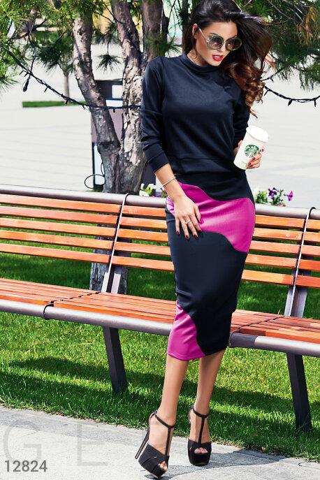 Купить Костюмы и комплекты / Низ юбка, Зауженный костюм юбка+кофта, Костюм-12824, GEPUR, темно-синий