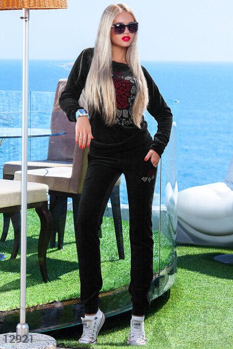 Велюровый черный костюм спортивный