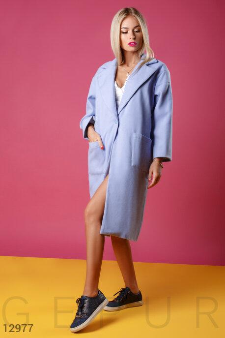 Голубое кашемировое пальто в стиле oversize купить в интернет-магазине в Москве, цена 1254.89 |Пальто-12977