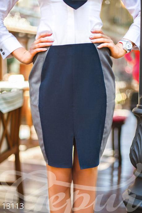 Купить Юбки / Карандаш, Классическая узкая юбка с молнией сзади, Юбка-13117, GEPUR, темно-синий, серый