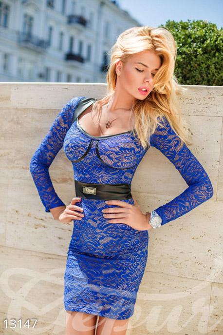 Купить Платья / Миди, Синее гипюровое платье со вставками из экокожи, Платье-13147, GEPUR, синий электрик, вставки - черный, подклад - телесный