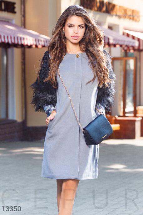 Пальто из кашемира с меховыми рукавами купить в интернет-магазине в Москве, цена 1322.91 |Пальто-13350