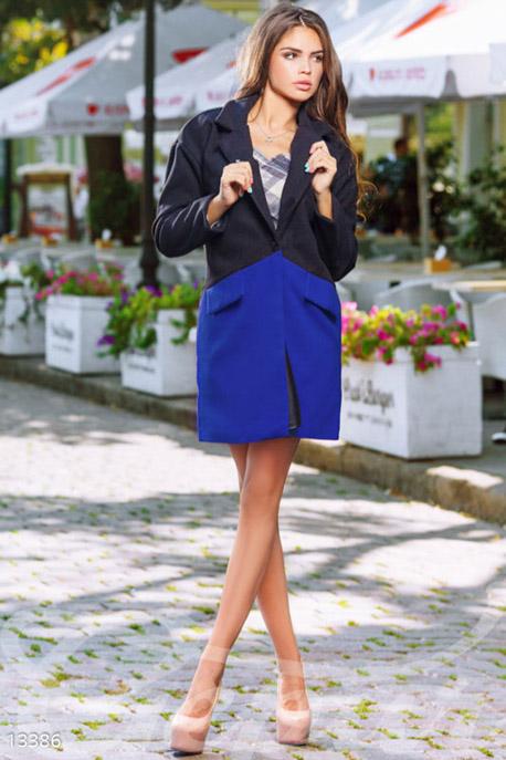 Двухцветное кашемировое пальто с карманами купить в интернет-магазине в Москве, цена 1463.64 |Пальто-13386