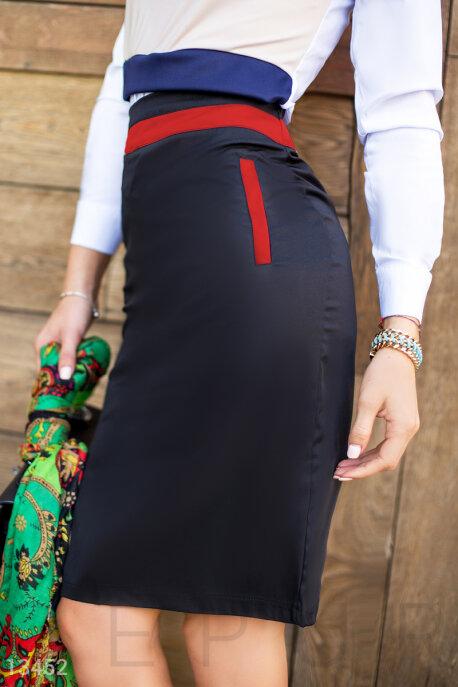 Купить Юбки / Карандаш, Контрастная юбка-карандаш со вставками, Юбка-13452, GEPUR, чёрный, вставки - красный