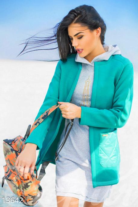 Купить Верхняя одежда / Плащи и кардиганы, Утепленный бирюзовый кардиган на флисе, Кардиган-13642, GEPUR