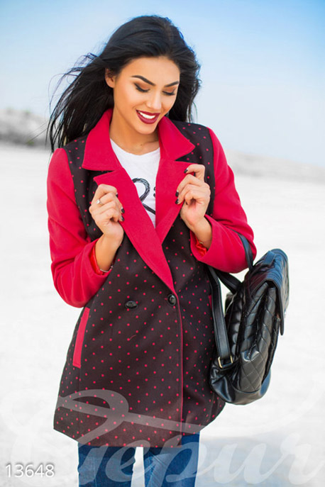 Двухцветное кашемировое пальто в горошек купить в интернет-магазине в Москве, цена 1118.84 |Пальто-13648