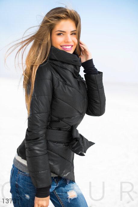 Купить Верхняя одежда / На синтепоне, Теплая куртка черная с поясом, Куртка-13731, GEPUR, черный