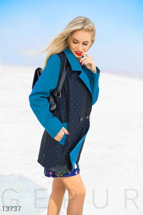 Контрастное двубортное пальто в горошек купить в интернет-магазине в Москве, цена 1118.84 |Пальто-13737
