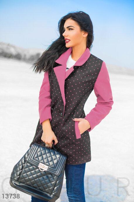 Двубортное фрезовое пальто в мелкий горошек купить в интернет-магазине в Москве, цена 1118.84 |Пальто-13738