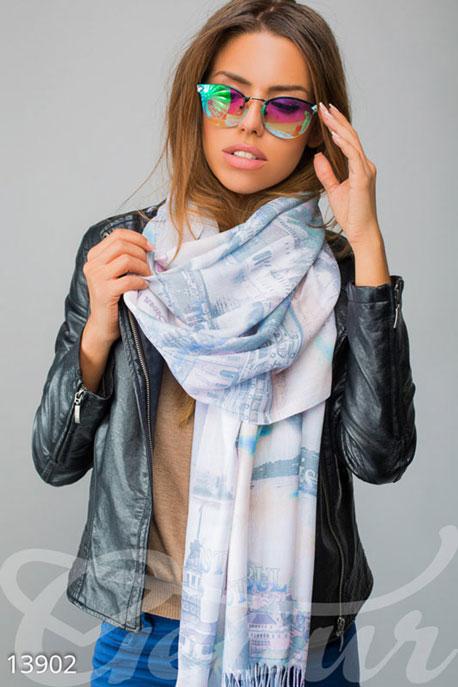 Купить Перчатки, шарфы, шапки / Шарфы, Изящный шарф-палантин, Шарф-13902, GEPUR, молочно-синий