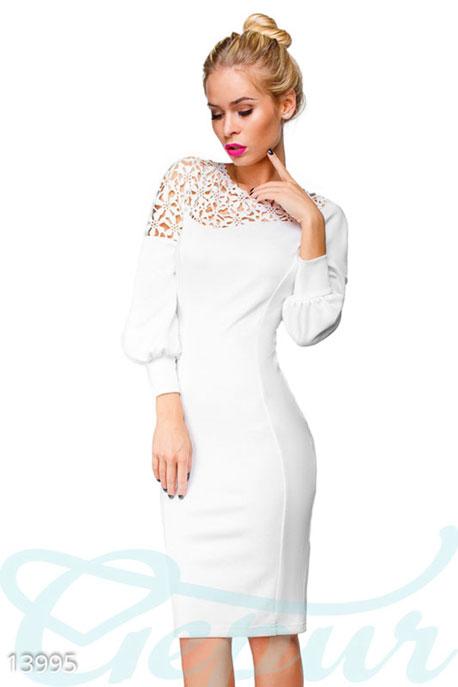 Купить Платья / Миди, Платье с перфорацией облегающего кроя, Платье-13995, GEPUR, белый