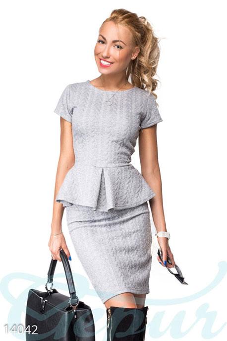 Купить Костюмы и комплекты / Низ юбка, Мягкий теплый костюм из стеганой вискозы, Костюм-14042, GEPUR, светло-серый