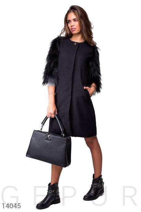 Пальто из кашемира с меховыми рукавами купить в интернет-магазине в Москве, цена 1322.91 |Пальто-14045