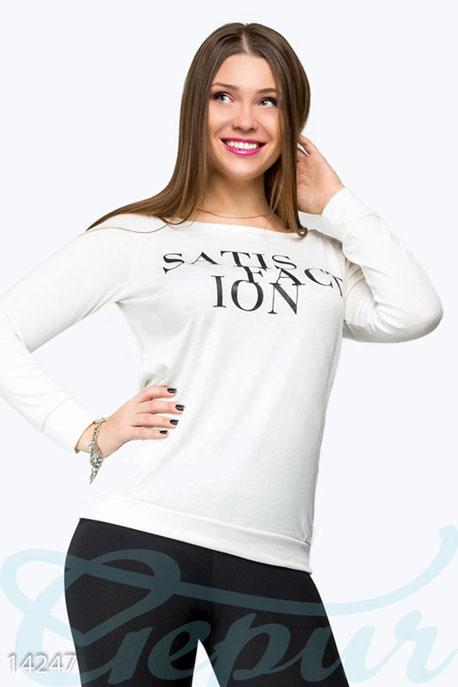 Купить Свитера / Большие размеры, Стильная кофта Satisfaction , Кофта(Батал)-14247, GEPUR, белый, накат - черный