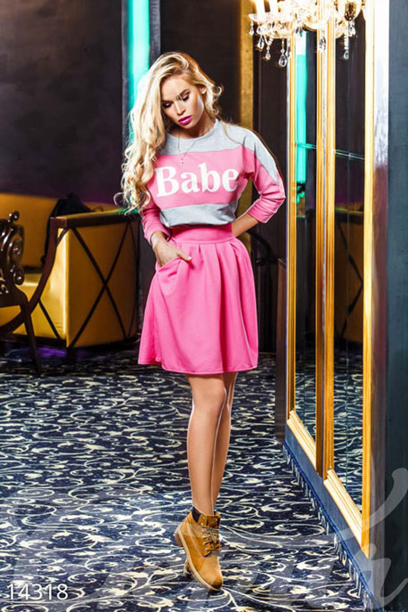 Купить Свитера / Большие размеры, Свитшот с накатом Babe , Свитшот(Батал)-14318, GEPUR, серый меланж, вставки - розовый, накат - белый