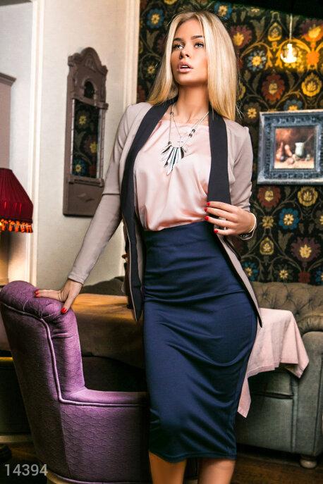 Купить Костюмы и комплекты / Низ юбка, Элегантный деловой костюм, Костюм-14394, GEPUR, майка - персиковый, жакет - бежевый, кант, юбка - темно-синий
