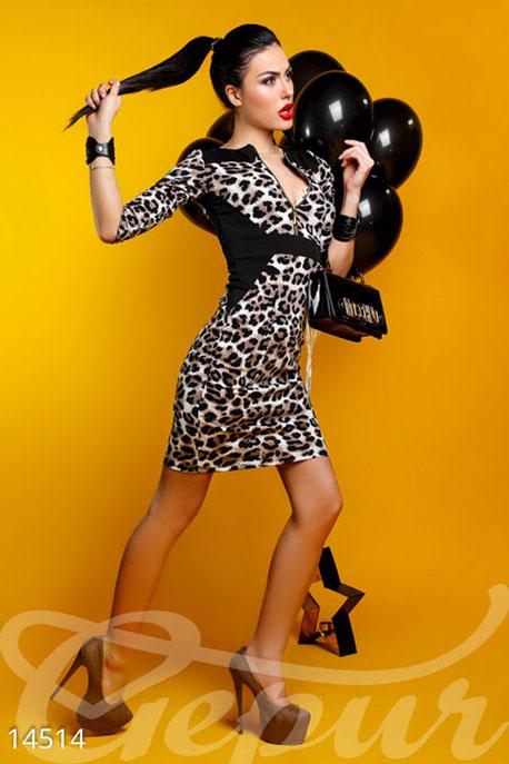 Купить Платья / Мини, Соблазнительное трикотажное платье с кантом, Платье-14514, GEPUR, леопард, вставки черный