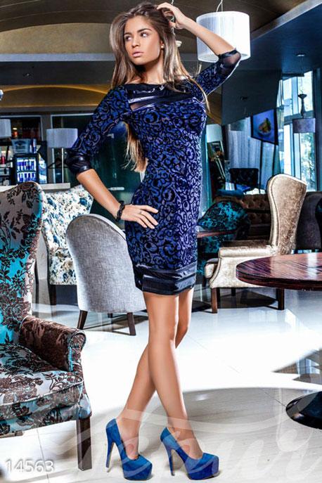 Купить Платья / Вечерние, Интригующее вечернее платье, Платье-14563, GEPUR, тёмно-синий с блестками, вставки черные