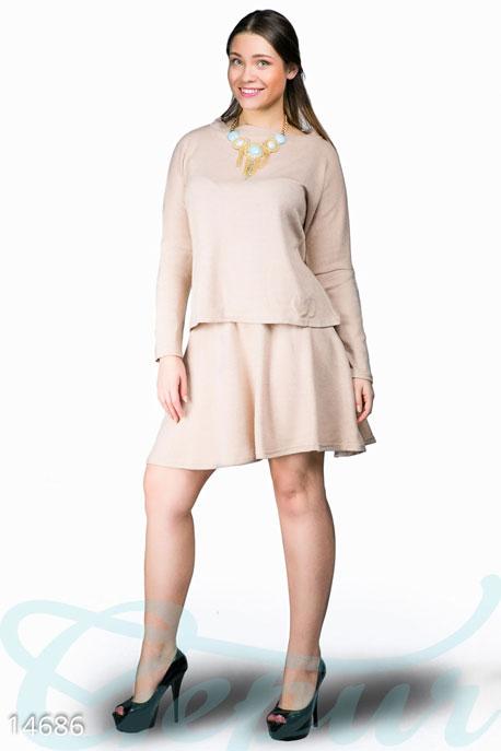 Купить Костюмы и комплекты / Большие размеры, Стильный ангоровый костюм, Костюм(Батал)-14686, GEPUR, бежевый